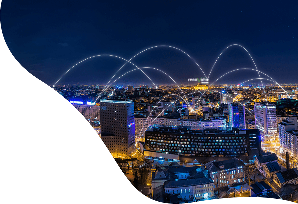 Connection dots on Bucharest skyline